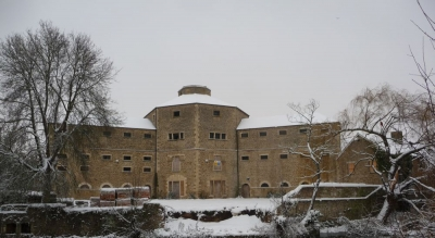 Abingdon Old Gaol restored to original awaiting redevelopment in the snow 2010