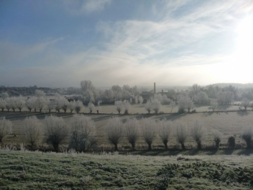 Crawley Mill and River Windrush viewed from Crawley Village heights on a very frosty day