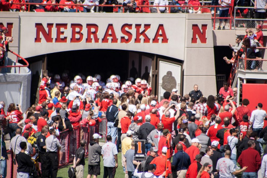 The Nebraska Cornhusker tunnel walk