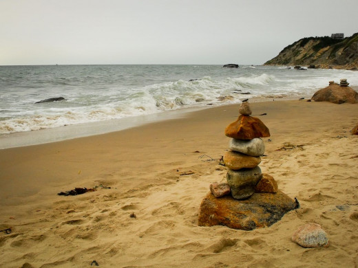 Stacked rock cairns dot the beaches around Block Island. Some say they are for good luck, others but regardless they are whimsical and fun.