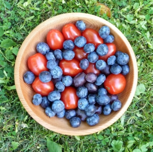 Blueberries Tomatoes in a Wooden Bowl