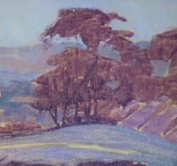 Under-painting of trees in complementary colors by Sharon Weaver