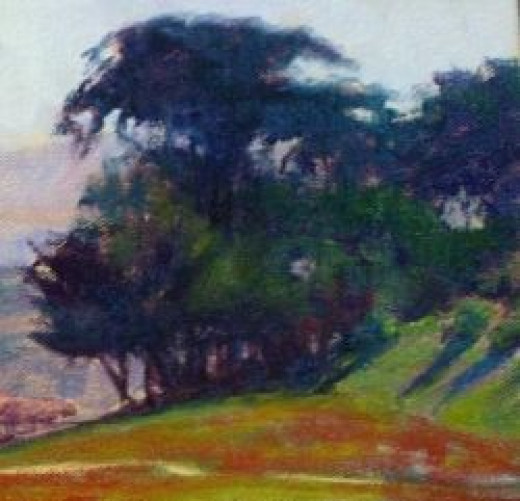 Trees with Complimentary Under-painting by Sharon Weaver