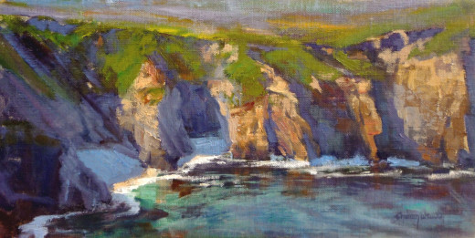 Ocean Cove captures a hidden beach just south of Carmel. The ocean carves out secret coves where sea otters play. 8x16 Oil