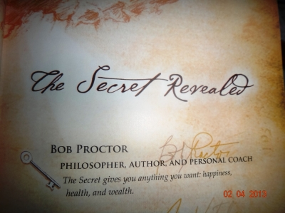 A vision of the book The Secret by Rhonda Byrne