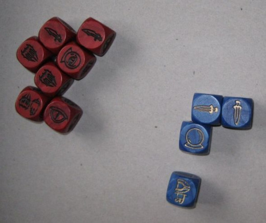 Action dice rolls for the turn 1 of the game (example below).