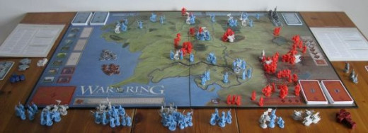 My copy of War of the Ring all set up and ready to play.