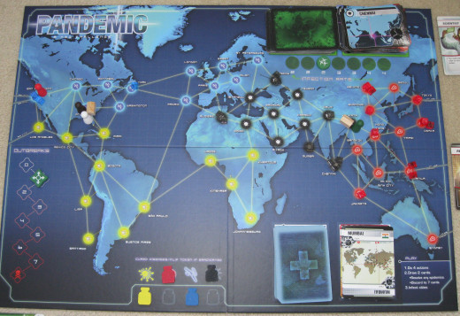 Pandemic Board Mid Game