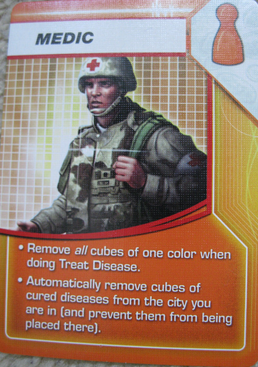 The medic role: really useful for clearing up disease cubes from the board.