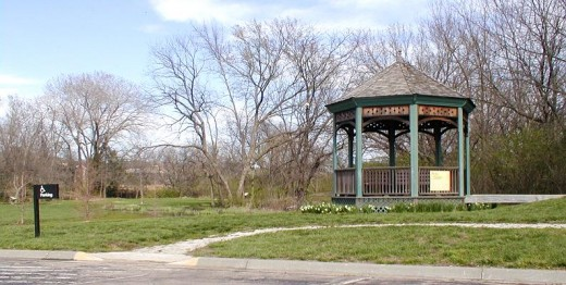 This lovely gazebo is handicapped accessible.  There's also a lily pond at the left.