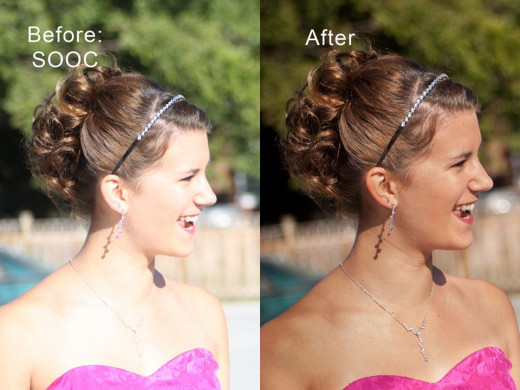 Example of an over exposed (too bright) photo adjusted in Lightroom