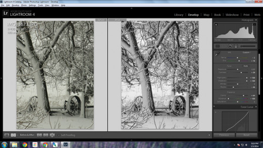 Example of correcting white balance in Lightroom. The snow in the original photo on the left has a yellow green cast.