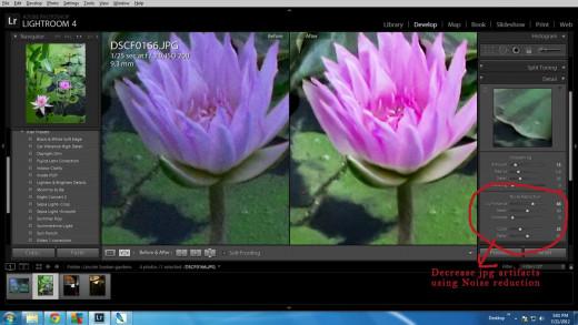 Decreasing jpg artifacts and decreasing noise using Lightroom.
