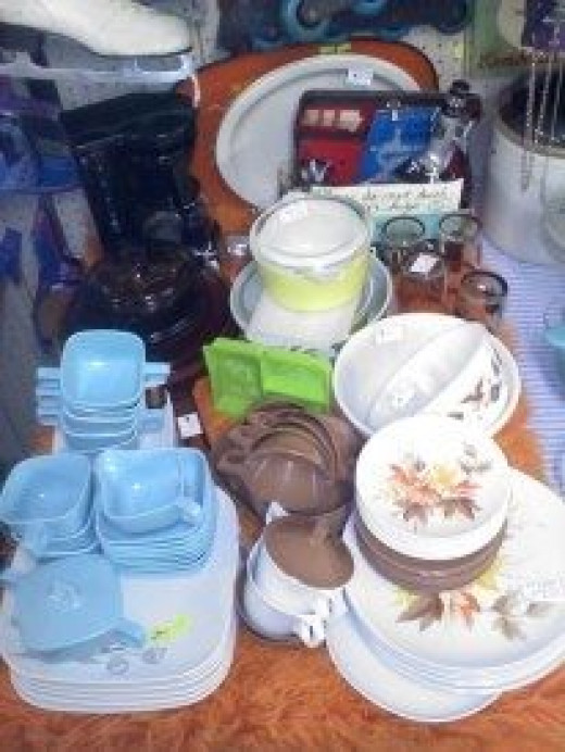 Vintage dishes at a small, local shop