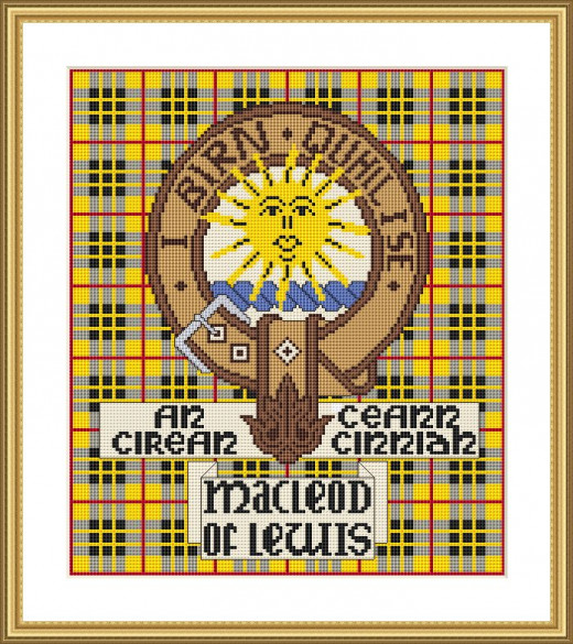 Picture Credit  'Clan MacLeod of Lewis' - designed by the Author, faeriesong, for celtic-cross-stitch.com