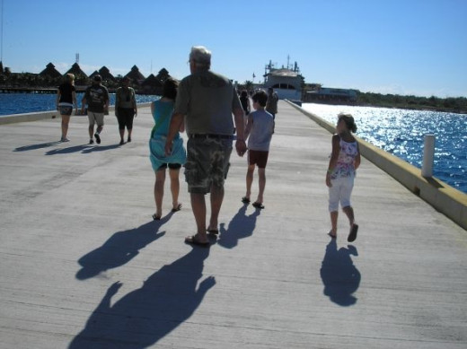 Walking along one of the pier in Cozumel