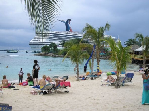 The beach with the cruise ship in the background