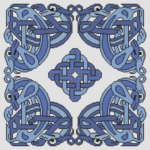 Picture Credit  'Pictish Creatures in Blue' - designed by the author, faeriesong for celtic-cross-stitch.com