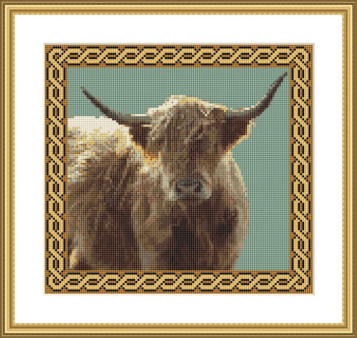 Picture Credit  'Highland Cow'  - designed by the Author, faeriesong, for celtic-cross-stitch.com