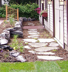 Flagstone and Mulch