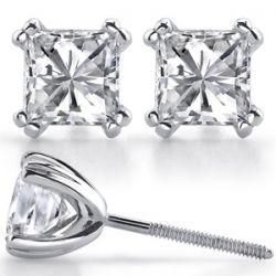 Square Moissanite Vintage Double Prong Martini Stud Earrings [ear149]
