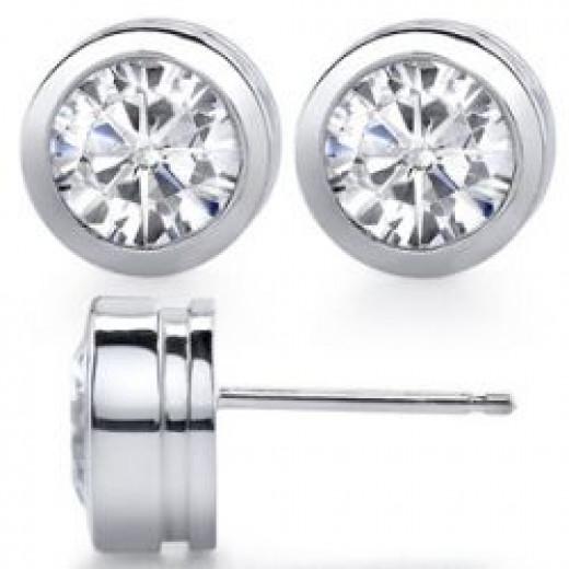 Round Bezel Moissanite Stud Earrings [ear014]