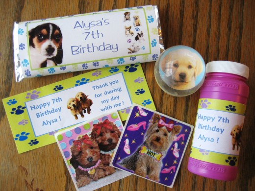 Party favors for my daughter's Puppy Dog theme party.