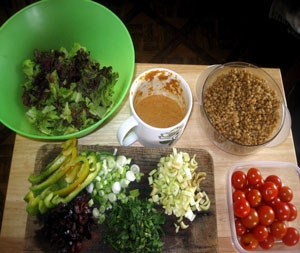Ingredients for the Wheatberry Salad.