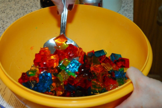 A bowl full of jello flavors