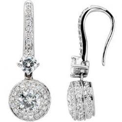 2/3 CT Moissanite and 1/2 CT Diamond Earrings Item #: JJ66928_14KW