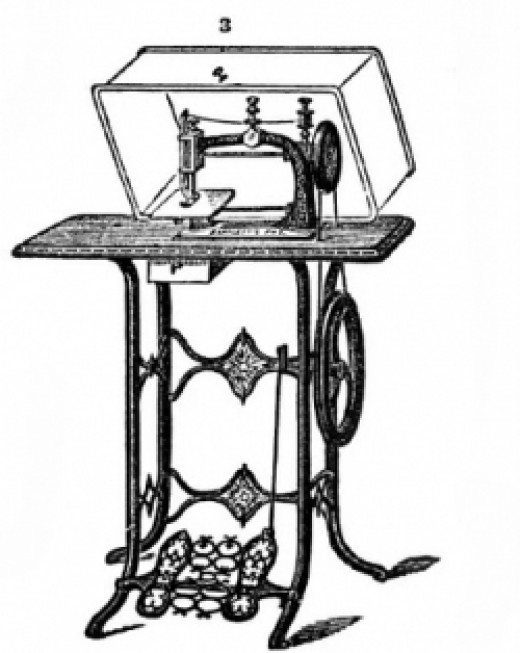 Vintage treadle style sewing machine.