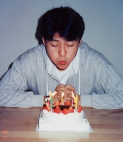 That's me celebrating my first birthday since coming back to Japan.