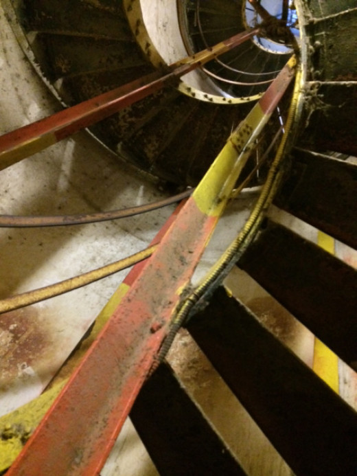 After the cave comes this narrow spiral staircase.