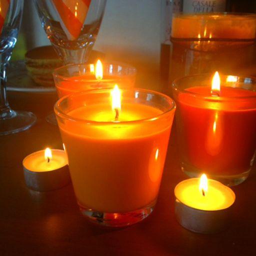 Orange candles set the mood