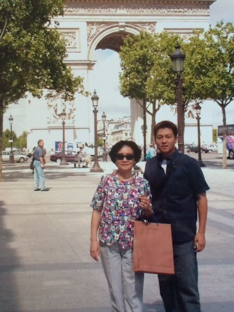 In front of the Arc de Triomphe in Paris.