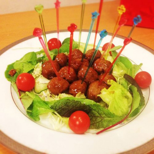 Sweet and sour meatballs appetizer.