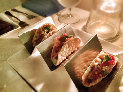 Crispy Asian Taco with Smoked Duck Breast, Avocado and Spicy Salsa. Compliments from the chef.