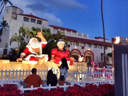 Even Santa gets into the Hawaiian spirit.