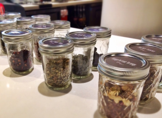 A selection of organic teas on the counter of this new cafe.