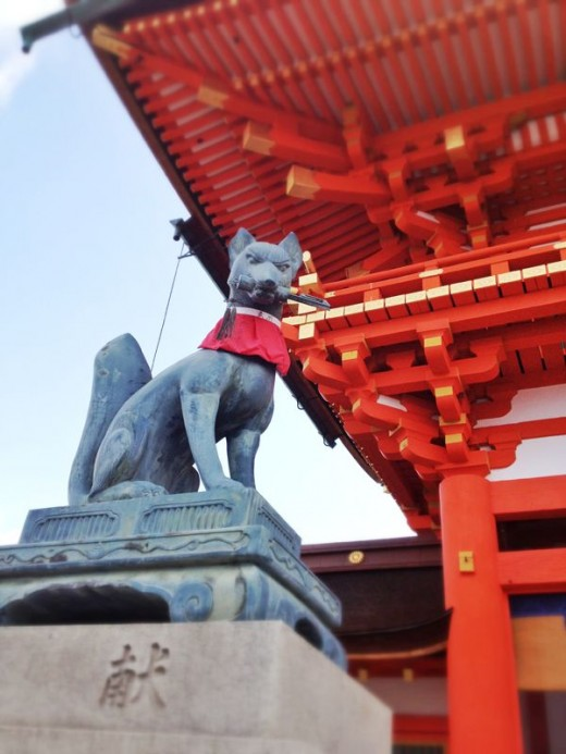 The Inari God stands guard.
