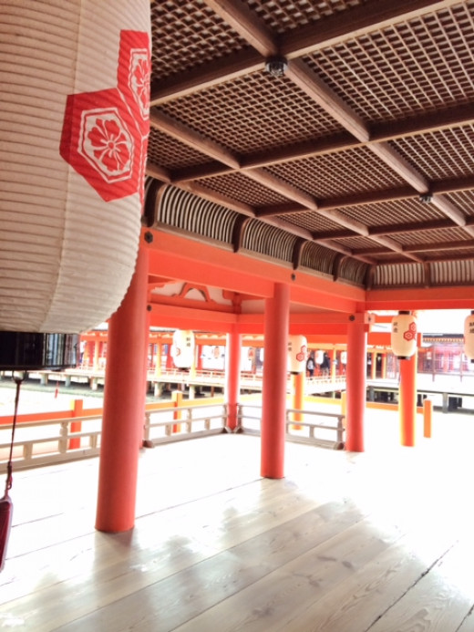 The shrine itself is painted a bright vermillion red.