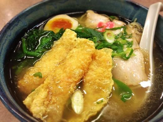 A piping hot bowl of Kyoto-style ramen with yuba ( tofu skin ).