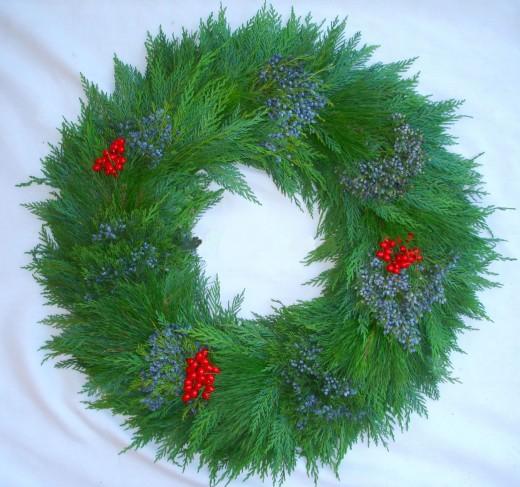 Leylandii Blueberry Cedar and Red Berry Wreath