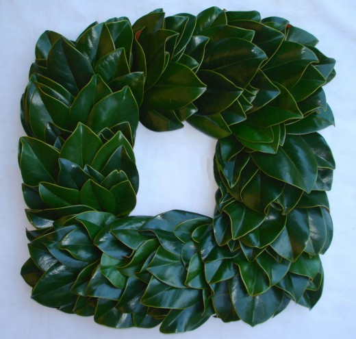 Plain Green Square  Magnolia Wreath