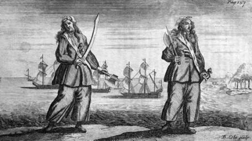 Engraving of Anne Bonny and Mary Read - 1724