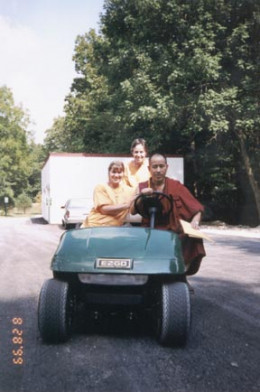 (right to left) Venerable Lobsang Dhargyal from Namgyal Monastery in Dharmsala, India, Risha, Chistine Arlington (in rear)