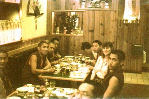 Having dinner with The Drepung-Loseling monks at Peacock Chinese Restaurant in Stuart, FL