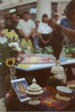 Offering for sand mandalaOctober 2000..photo by Risha
