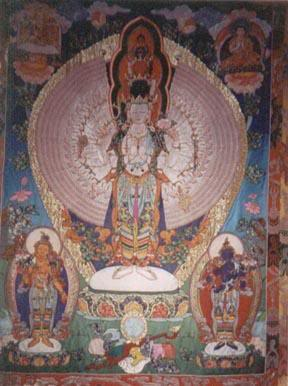 Large Thangka adorns the wall in Avalokiteshvara shrine