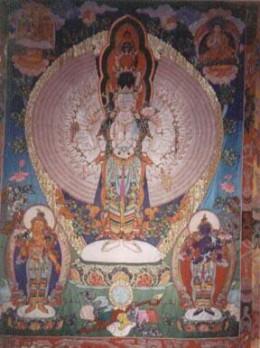 Large Thangka adorns the wall in Avalokiteshvara shrine